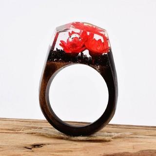 10号 木製 樹脂 リング レッド(リング(指輪))