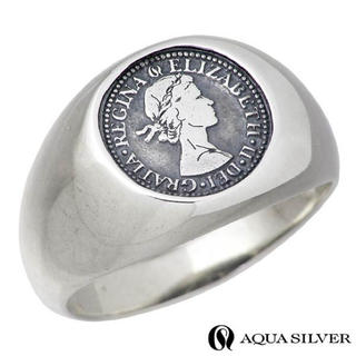 AQUA SILVER 6ペンス シルバー リング メンズ 指輪(リング(指輪))