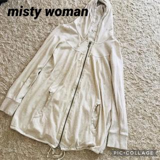 ミスティウーマン(mysty woman)のmysty woman ミスティウーマン コットンロングパーカ ホワイト(パーカー)