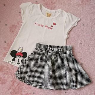女の子 半袖 トップス フレアスカート 100cm 2点セット(Tシャツ/カットソー)