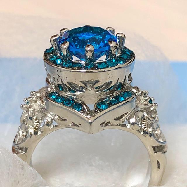 オーシャンブルー ビッグストーン リング 女性 指輪 レディースのアクセサリー(リング(指輪))の商品写真