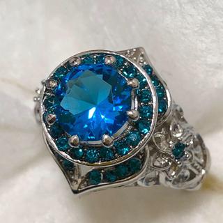 オーシャンブルー ビッグストーン リング 女性 指輪(リング(指輪))
