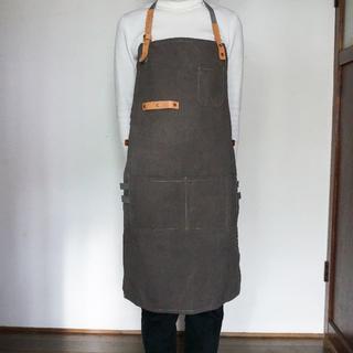 【新品】ワークエプロン 作業用 男女兼用 カフェ メンズ ブラウン 茶 帆布(その他)