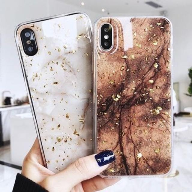 iphone7 ケース iphone6に | 新品★マーブル大理石ラメiphoneケース ブラウンのみの通販 by MINHO|ラクマ
