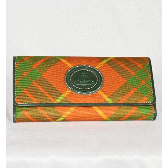 Vivienne Westwood(ヴィヴィアンウエストウッド)のヴィヴィアンウエストウッド  新品 長財布 オレンジ チェック柄  レディースのファッション小物(財布)の商品写真