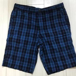 ジーユー(GU)の美品 GU ハーフパンツ L 青×黒 チェック(ショートパンツ)