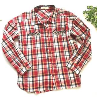 チェスティ(Chesty)のチェスティchesty♪ビジューコットンシャツ♪レッド 赤ブラウス(シャツ/ブラウス(長袖/七分))