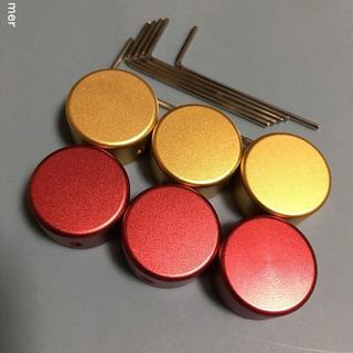 6個 ● エフェクター アルミ製 スイッチカバー 赤red(パーツ)
