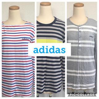 アディダス(adidas)の【新品】adidas NEO LABEL ボーダートップス 3点セット Tシャツ(Tシャツ/カットソー(七分/長袖))