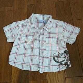ディズニー(Disney)のミッキー 半袖チェックシャツ(シャツ/カットソー)
