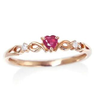 ジュエリーツツミ(JEWELRY TSUTSUMI)のK10  ピンクゴールド ルビーダイヤリング(リング(指輪))