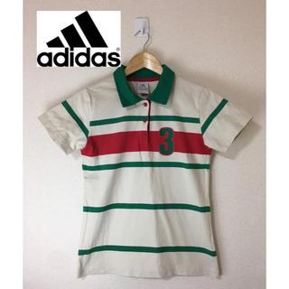 アディダス(adidas)のadidas アディダス 半袖 ボーダー ナンバリング ポロシャツ 白系 L(ポロシャツ)
