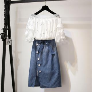 トッコ(tocco)の肩半袖蝶結び飾りスリット裾トップス+スカートセット(その他)
