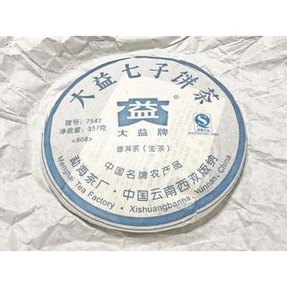大益七子餅茶 7542 (生茶) 357g × 1枚 2008年産 プーアル茶(茶)