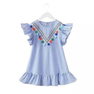 子供服 キッズ 110 フリンジ ストライプ ワンピース(ワンピース)