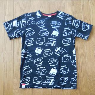 シマムラ(しまむら)のおしゅしだよ 総柄Tシャツ 黒 Mサイズ(Tシャツ/カットソー(半袖/袖なし))
