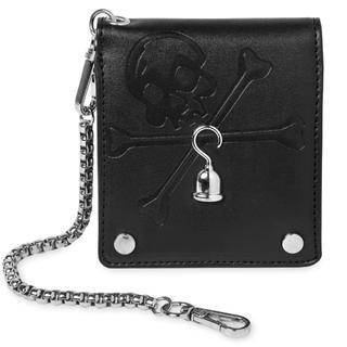 ディズニー(Disney)のアメリカ ディズニー 二つ折財布サイフ メンズ スカル ドクロ 新品 チェーン付(折り財布)