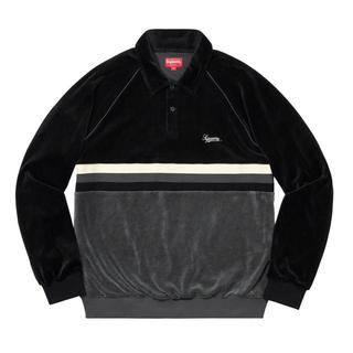 シュプリーム(Supreme)のsupreme  velour raglan l/s polo small(ポロシャツ)