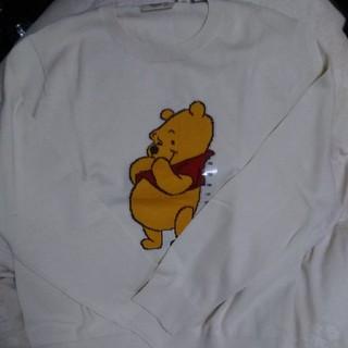 ユニクロ(UNIQLO)のユニクロ プークルーネックセーター オフホワイト 150(ニット)