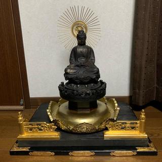 時代 薬師如来坐像 台座付き 古銅製 仏像 金彩 骨董(彫刻/オブジェ)