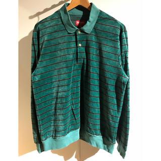シュプリーム(Supreme)のSupreme Striped Velour L/S Polo Green M(ポロシャツ)