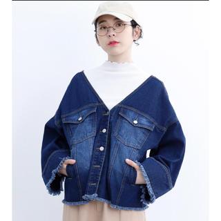 メルロー(merlot)の【新品】【お値下げ】デニムジャケット 抜き襟 ノーカラー(Gジャン/デニムジャケット)