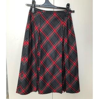 ジオスポーツ(GIO SPORT)のチェック プリーツスカート 38(ひざ丈スカート)