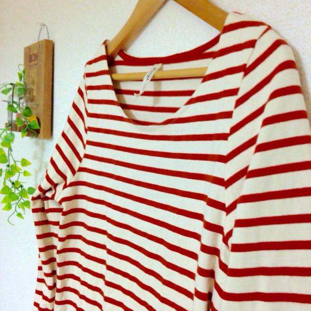 ボーダーワンピース♡赤♡ レディースのワンピース(ひざ丈ワンピース)の商品写真