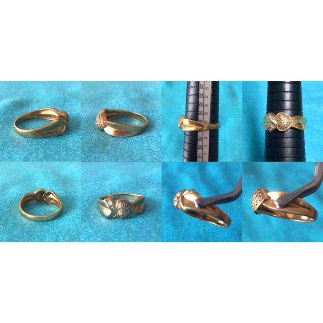 【りっちゃん様専用】18金 ハート ダイヤ リング 指輪 レディースのアクセサリー(リング(指輪))の商品写真
