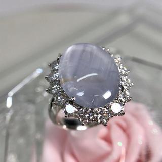 Pt900 スターサファイア ダイヤモンド リング 指輪 19-840(リング(指輪))