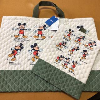 ディズニー(Disney)のミッキーマウス レッスンバッグ シューズケース セット(レッスンバッグ)