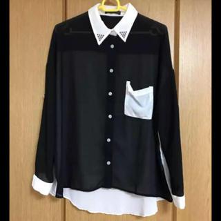 スウィートビー(SWEET.B)のブラック×ホワイト ブラウス(シャツ/ブラウス(長袖/七分))