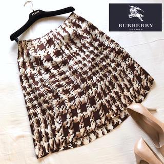 バーバリー(BURBERRY)のバーバリーロンドン 上質シルク100絹 フレアスカート (ひざ丈スカート)