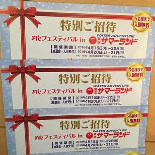 東京サマーランド・特別ご招待券 3枚・3枚で最大15名様 入園無料!(プール)