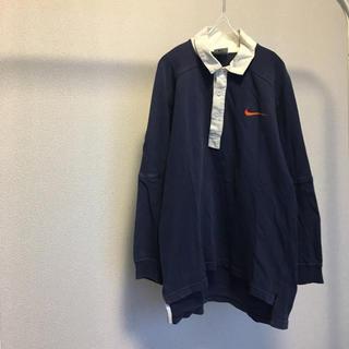 ナイキ(NIKE)のNIKE ナイキ ラガーシャツ ポロシャツ 長袖 L 90s 古着(ポロシャツ)