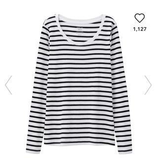 ジーユー(GU)の新品未使用 タグ付き ボーダークルーネックT(長袖)  Mサイズ(Tシャツ(長袖/七分))