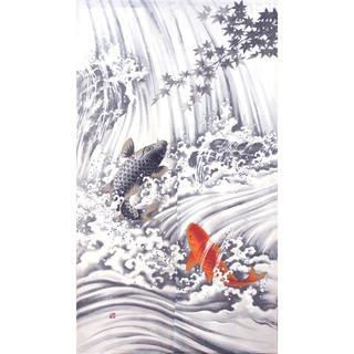 ☆のれん 「鯉の滝登り」 日本製 新品 約幅85×丈150cm(のれん)