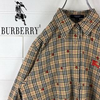 バーバリー(BURBERRY)の124さん 専用 バーバリー デカロゴ ゆるだぼ 90s 花柄ノバチェックシャツ(シャツ)