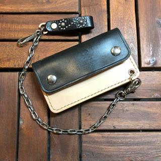 【ハンドメイド 手染め/ブラック ーハーフ トラッカー ウォレットー 】(折り財布)