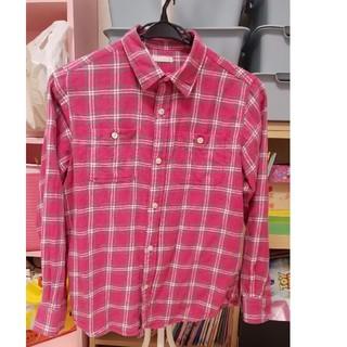ジーユー(GU)のキッズ ピンクチェックシャツ(ジャケット/上着)