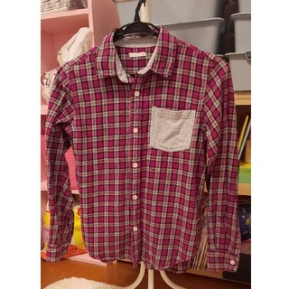 ジーユー(GU)のキッズ パープルチェックシャツ(ジャケット/上着)