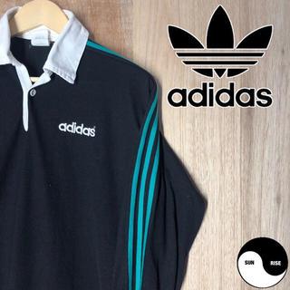 アディダス(adidas)のadidas アディダス ロゴ 長袖 ラガーシャツ 90's メンズ 古着(Tシャツ/カットソー(七分/長袖))