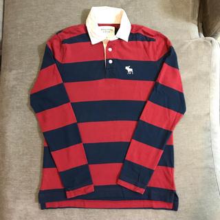 アバクロンビーアンドフィッチ(Abercrombie&Fitch)のアバクロ メンズ ボーダー ラガーシャツ 長袖 Sサイズ 赤×ネイビー(ポロシャツ)