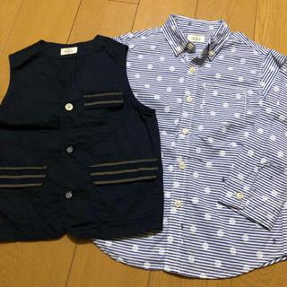 イッカ(ikka)のikka  七分袖シャツ と ベスト の2点セット  130cm(Tシャツ/カットソー)