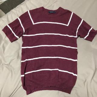 レイジブルー(RAGEBLUE)のサマーニット 臙脂 えんじ ワイン ボーダー レイジブルー  REGEBLUE(Tシャツ/カットソー(半袖/袖なし))
