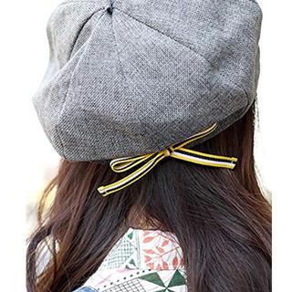 チチカカ(titicaca)のチチカカ グレー ベレー帽リボン【即購入ok】(ハンチング/ベレー帽)