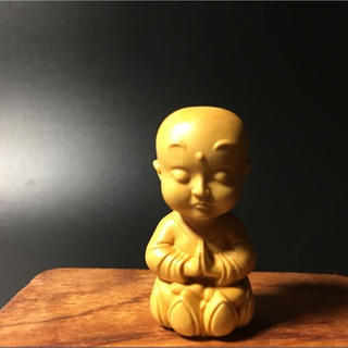 柘植 可愛い布袋 仏具 仏像  置物 お守り  (彫刻/オブジェ)