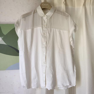 ジーユー(GU)のGU◆シースルー切り替えシャツ(シャツ/ブラウス(半袖/袖なし))