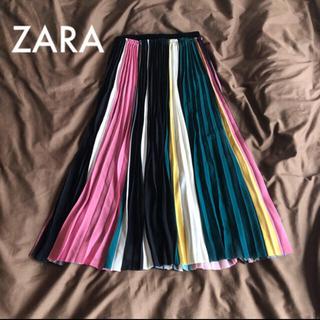 ザラ(ZARA)の ZARA マルチカラー プリーツスカート レア(ロングスカート)