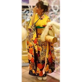 成人式 振袖 フルセット 帯 金 ゴールド オレンジ 黄色 バラ 花 蝶【刺繍】(振袖)